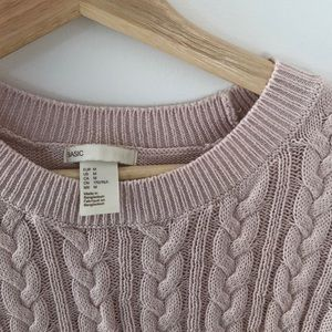 H&M basic pink knit pullover sweater size M